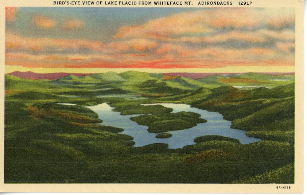 Caption - Lake Placid from Whiteface Mountain, Vintage Postcard, circa 1940s
