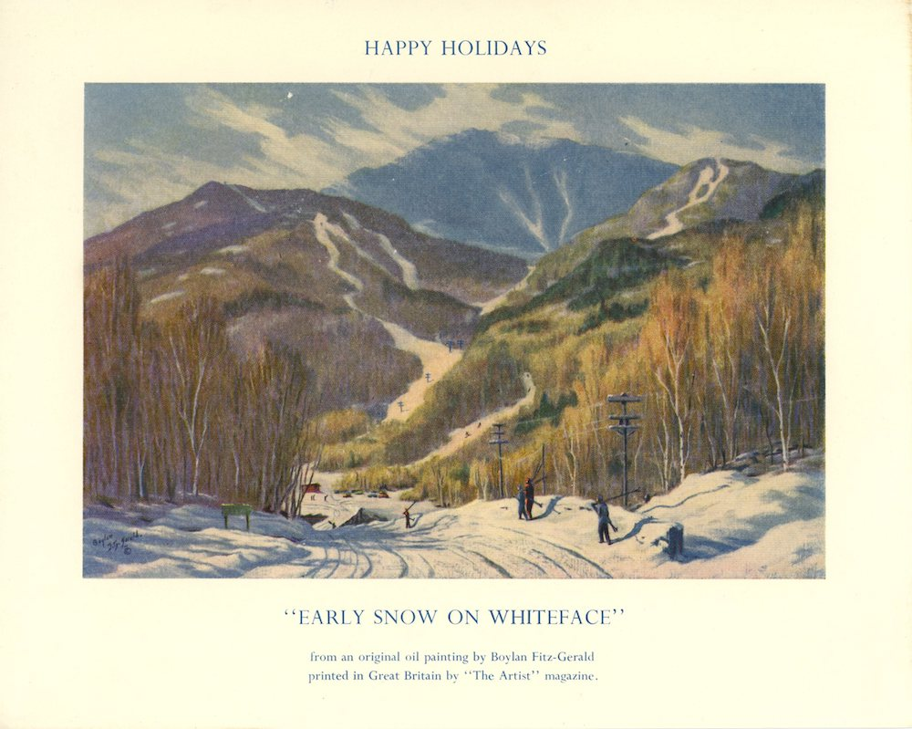 Happy Holidays Christmas Card, Early Snow On Whiteface by Boylan Fitz-Gerald